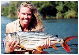 Cindy Garrison with Tiger fish, Botswana Africa.