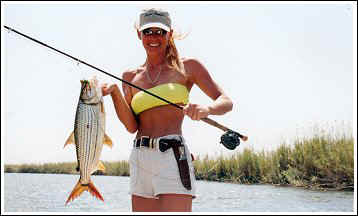 Cindy Garrison with Tiger Fish, Botswana Africa